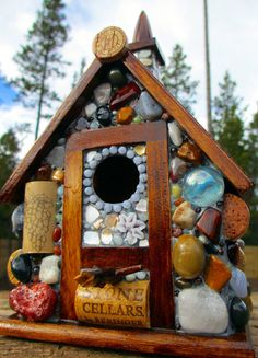 Mosaic Birdhouse Eco Friendly Cottage by WinestoneBirdhouses, $75.00 but totally #DIY