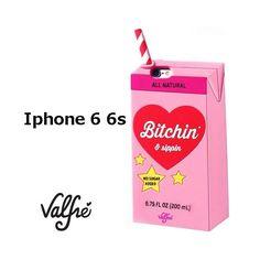 Valfre ヴァルフェー 立体 BITCHIN SIPPIN 3D IPHONE 6 6S CASE PINK iphone6s ケース ストローパック シリコン おもしろ おしゃれ ブランド|beautejapan2