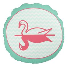 Sweet Swan Reflection round pillow pink/mint available on zazzle.com http://www.zazzle.com/sweet_swan_reflection_round_pillow_pink_mint-256124835036774377