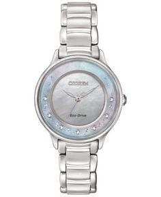 Citizen Women's Eco-Drive Circle of Time Diamond Accent Stainless Steel Bracelet Watch 30mm EM0380-81N