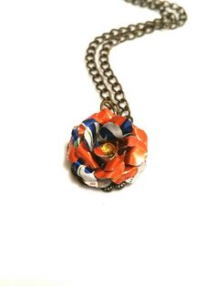 Recycled Sunkist Can Flower Necklace Teen Girl by AbsoluteJewelry