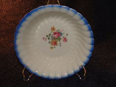 Hurry don't miss out! Auction closing in 20 Minutes.... Homer Laughlin Lusterware Decorative Round Serving Bowl Blue W/Roses 9 1/4 in #HomerLaughlin