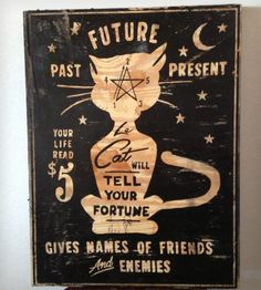 """Le Cat Psychic Services Wood Sign - 18"""" x 24"""" by Old Dirty Type on Scoutmob Shoppe"""