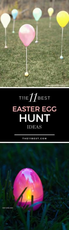 Easter Egg Hunt Ideas! Glow in the dark Easter eggs, balloon Easter eggs, Easter egg hunt ideas for toddlers and babies. #huntingideas
