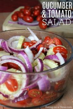 Quick and Easy Cucumber Tomato Salad You are going to love this Cucumber Tomato Salad recipe. This quick and easy cucumber tomato onion salad recipe is perfect for a Summer salad recipe. Cucumber Tomato And Onion Salad Recipe, Easy Cucumber Salad, Tomato Salad Recipes, Tomato Sauce Recipe, Cucumber Recipes, Easy Summer Salads, Summer Salad Recipes, Easy Salad Recipes, Summer Bbq