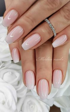 Wedding Day Nails, Wedding Nails Design, Wedding Manicure, Natural Wedding Nails, Wedding Acrylic Nails, Wedding Designs, Nail Designs For Weddings, Weding Nails, Simple Wedding Nails