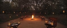 Dinner around the camp fire at Sher Bagh, Ranthambore National Park, North India