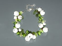 Mistletoe Bracelet, Snowberry Bracelet w glass white berries, lampwork glass beads, lobster clasp, adjustable length art glass bracelet