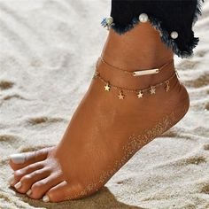 Modyle Ankle Chain Pendant Anklet Metal Summer Beach Foot Jewelry Fashion Style Anklets for Women Foot Bracelet, Anklet Bracelet, Beaded Anklets, Anklet Jewelry, Gold Anklet, Women's Jewelry, Pandora Jewelry, Body Jewelry, Bridal Jewelry