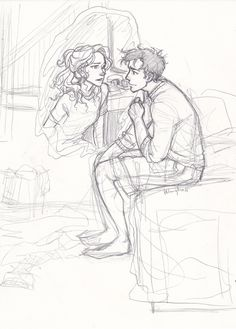 """burdge: i was sorting through some of my old sketchbooks and found this incomplete sketch. i always had this idea of Percy and Annabeth """"Iris Messaging"""" each other while they were apart…"""