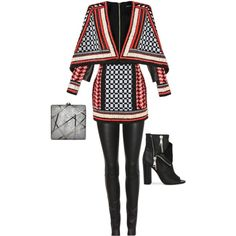A fashion look from February 2015 featuring Balmain dresses, The Row leggings and Casadei ankle booties. Browse and shop related looks.