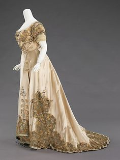 Dress (Ball Gown).  House of Worth (French, 1858–1956).  Designer: Jean-Philippe Worth (French, 1856–1926). Date: 1896–1900. Culture: French. Medium: silk, rhinestones, metal. Dimensions: Length at CB (a): 14 in. (35.6 cm). Length at CB (b): 57 in. (144.8 cm).