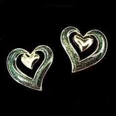 Double Heart Earrings Vintage Avon Gold Tone Green Retro Pierced Estate V213 #Avon #Huggie