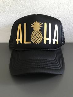 64275af5579 Aloha Pineapple Trucker Hats Hawaii Hawaiian Custom Snap Back Mesh Colors