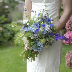 Abundant and dreamy blue #bridalbouquet using #britishflowers