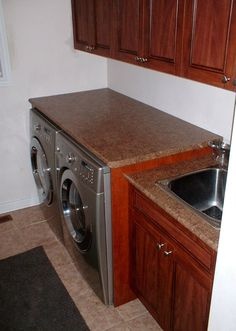 laundry room ideas countertop on washer dryer! we did over the washer and dryer now we just need to change the sink. Laundry Room Remodel, Laundry Room Storage, Laundry Rooms, Interior Design Living Room Warm, Small Storage, Storage Shelves, Reno, Home Projects, Home Remodeling