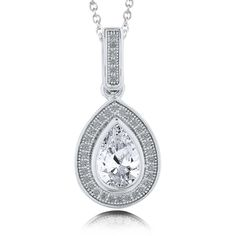 "BERRICLE Sterling Silver Pear CZ Halo Wedding Pendant Necklace 15"""" ($73) ❤ liked on Polyvore featuring jewelry, necklaces, clear, pendant necklace, sterling silver, women's accessories, womens jewellery, cz pendant, cubic zirconia pendant and sterling silver pendant necklace"