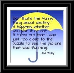 """-Ted Mosby, How I Met Your Mother. """"That's the funny thing about Destiny..."""""""