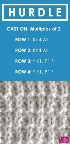 How to Knit the Hurdle Stitch with Free Written Pattern and Video Tutorial by Studio Knit. #knitting #knittingpattern #studioknit