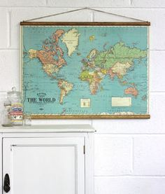 This vintage wall map not only looks great it makes a fun bacons map of the world wall hanging babys room gumiabroncs Image collections
