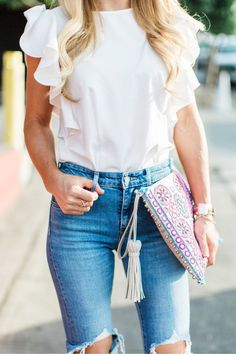 #summer #outfits White Ruffle Top Destroyed Skinny Jeans