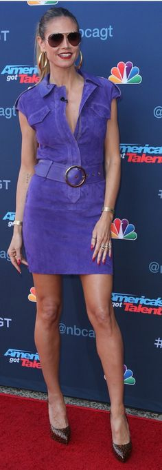 Who made  Heidi Klum's leopard platform pumps and purple belted suede dress?
