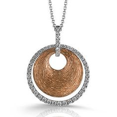 Simon G 18K Rose and White Gold 0.43 Carat Diamond Circle Pendant on a · MP1523-A · Ben Garelick Jewelers