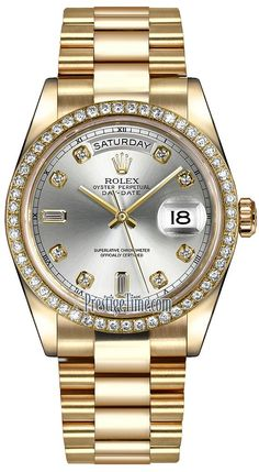 b2489d65b34 Rolex Day-Date 36mm Yellow Gold Diamond Bezel 118348 Silver Diamond  President Gold Diamond Watches