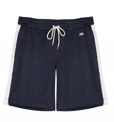 These track shorts from AMI Paris are made from a smooth poly-cotton blend, featuring a contrast ribbon stripe on each leg and a small flocked logo detail at the waist. Ss16, Swim Shorts, Navy And White, Looks Great, Track, Menswear, London, Swimwear, Fashion