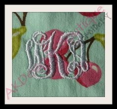 50% off Entwined 3 Letter Monogram Machine Embroidery Designs 1 inch and .7 inch- want.