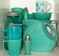 Turquoise Vintage Glass & Pottery I spy a Fiesta Pitcher