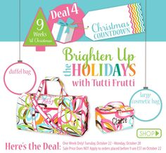 DEAL OF THE WEEK!! **ONLY $29.99 for BOTH cosmetic bag AND duffle bag! (personalization included)** The countdown to Christmas continues!! 9 weeks until Christmas! 12 deals, 12 weeks, 1 deal per week! This would make a great personalized give for anyone this Christmas. They are great for travel and so much more! Get yours at www.thepreppypair.storenvy.com