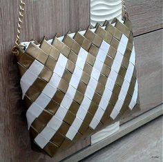 Zlato biela ecoistka / mofer - SAShE.sk - Handmade Kabelky