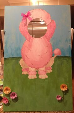 Puppy Party/ Dog Party/ Pink Poodle Party: Pink poodle head through hole picture board