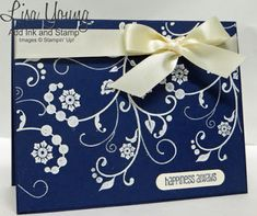 Stampin' Up! Navy and White wedding card. Handmade card by Lisa Young, Add Ink and Stamp Homemade Wedding Cards, Wedding Day Cards, Wedding Shower Cards, Wedding Cards Handmade, Wedding Anniversary Cards, Homemade Cards, Italian Wedding Favors, Wedding Favours Sign, Romantic Cards