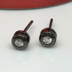 Mens Diamond Stud Earrings In A Size Medium Measuring 5mm Wide These