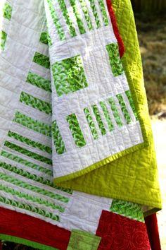 Lime Stripe Bars Modern Quilt