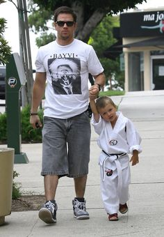 Mark Wahlberg And Son Michael Leaving A Karate Class