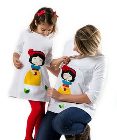 snowhite kids applique dress, mommy and me matching outfits, handmade clothing