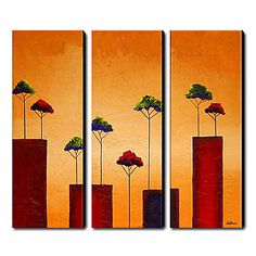 Red and Green Trees Oil Painting - Set of 3 - Free Shipping