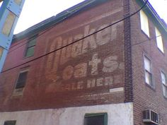 """""""Quaker Oats on sale here."""" Building was originally Cooper Barrel Works warehouse. (building since demolished) Brotherly Love, Building Art, Warehouses, Philadelphia Pa, Advertising Signs, Terrazzo, Signage, Barrel, The Past"""