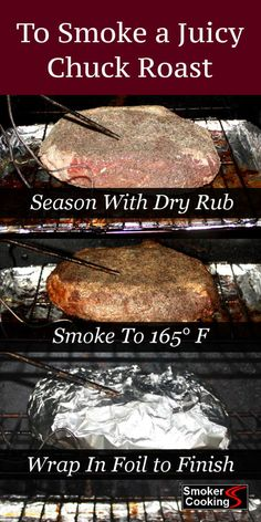 When smoking a chuck roast, be sure to pile on the flavor. Smoked low and slow, chuck roast takes hours, but wrapping in foil will reduce the cooking time. recipes Method For Smoking Chuck Roast That's Juicy and Fall-Apart Tender! Smoker Grill Recipes, Smoker Cooking, Grilling Recipes, Vegetarian Grilling, Electric Smoker Recipes, Healthy Grilling, Barbecue Recipes, Barbecue Sauce, Smoked Chuck Roast