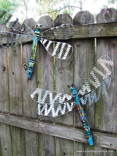 dragonflies for the garden with painted: old posts, metal/wire, and cieling fan blades