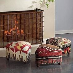 One-of-a-kind Triangular Kilim Footstool Kilim Ottoman, Kilim Rugs, Interior Flat, Interior Design, Simple Fireplace, Deck Fireplace, Southwest Decor, Southwest Style, Decoration