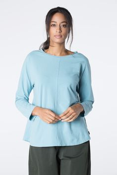 Shirt Taisha in color Lake and Alloy available at calgary.oska.com