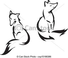 Vector of Sitting fox - Fox outline graphic, vector illustration ...