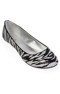 glitter zebra ballet flat $22.50