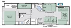 Explore the floor plans of the Four Winds Class C RV by Thor Motor Coach. Used Class C Motorhomes, Motorhomes For Sale, Four Winds Rv, Rv Floor Plans, House Plans, Camping World Rv Sales, Class C Rv, Cab Over, Rv For Sale