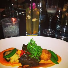 Vietnamese Style Braised Short Rib sweet potato purée, snap pea, king oyster mushroom w/ blossom cooler cocktail. #foodiesyyc #downtownyyc