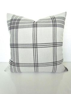 Online women's clothing and home decor boutique Outdoor Fabric, Indoor Outdoor, White Pillows, White Plaid, Outdoor Throw Pillows, Plaid Pattern, Throw Pillow Covers, Black Backgrounds, Pillow Inserts